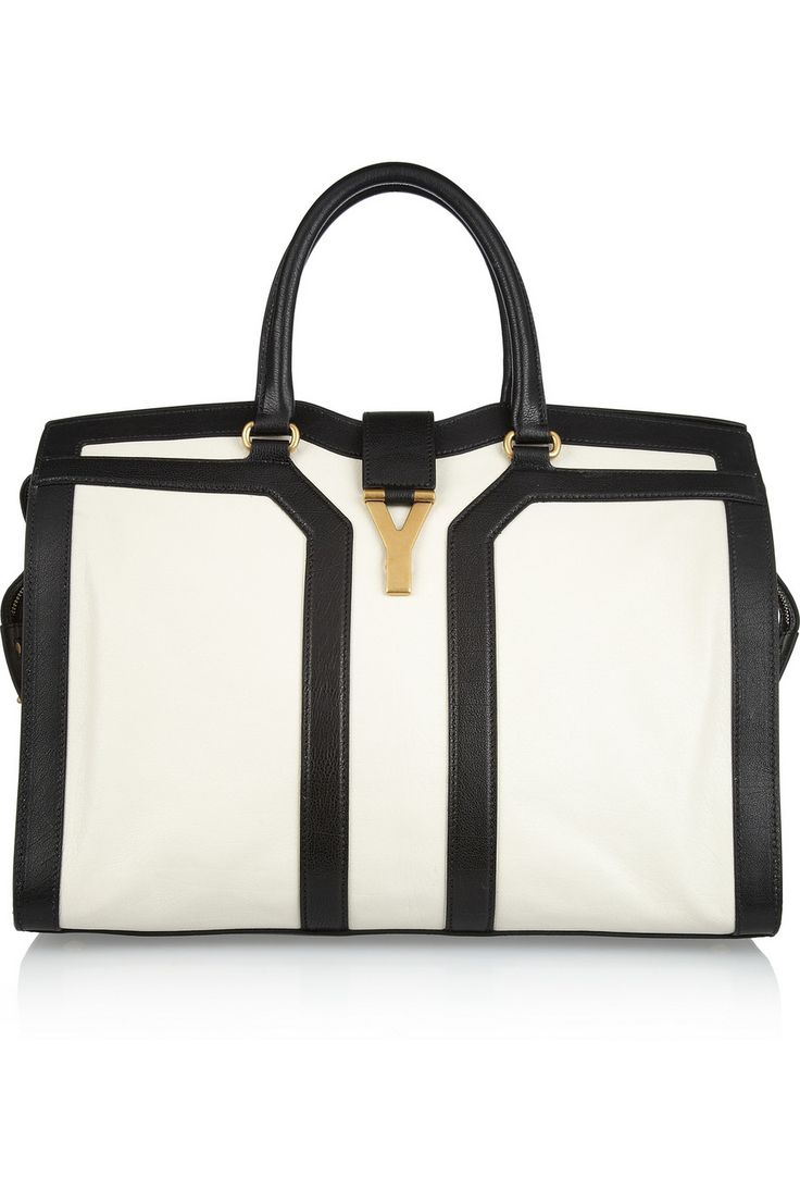 YSL. large cabas chyc leather tote with gold hardware. black + off white. #bags