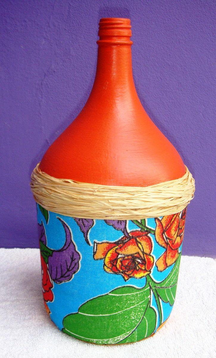 Garrafão de vidro, pintado e decorado com decoupagem