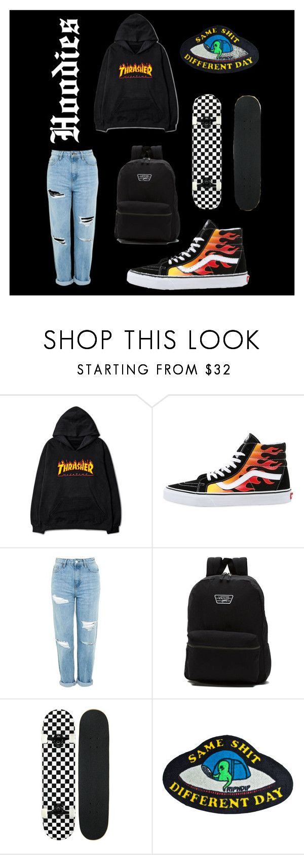 """Même merde tous les jours"" by hunneyboo ❤ liked on Polyvore featuring Vans, Topshop, RIPNDIP and Hoodies"