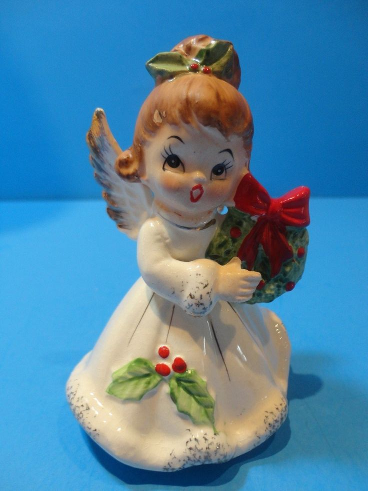 Vintage josef originals christmas holly quot angel w wreath