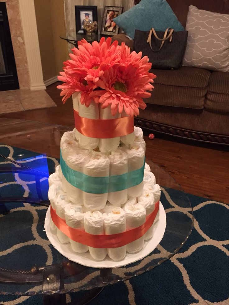 Diaper cake coral and turquoise