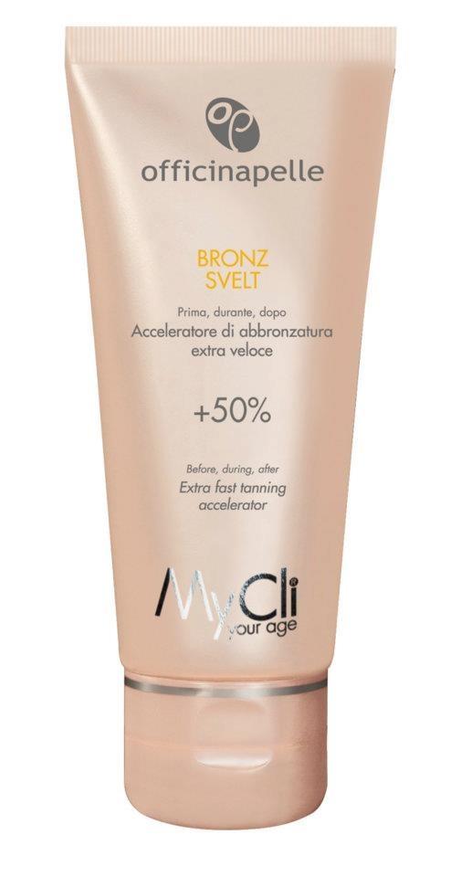 BRONZ SVELT (200 ml)    PER CHI: per tutti i tipi di pelle.    COS'È: nanogel che garantisce in pochi  giorni una migliore sintesi di  melanina e un'abbronzatura più  intensa, uniforme e duratura.  > per maggiori info scrivi a community@mycli.com