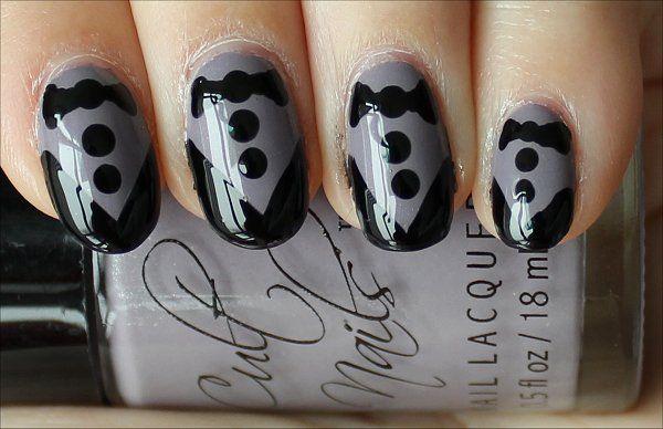 Gray Tuxedo Nails