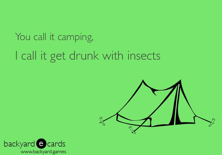 You call it camping, I call it get drink with insects.  Camping ecards | Funny camping quotes from Backyard Games humor