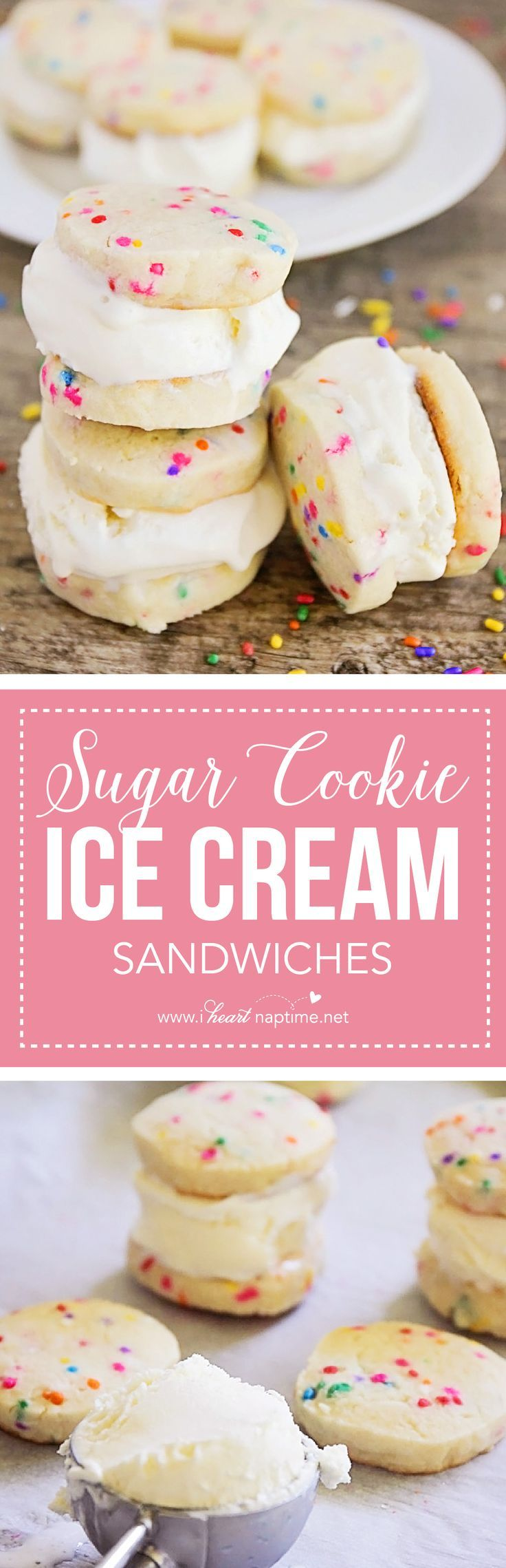 Sugar Cookie Ice Cream Sandwiches - creamy vanilla ice cream sandwiched between crisp and buttery sugar cookies. The perfect summer dessert!