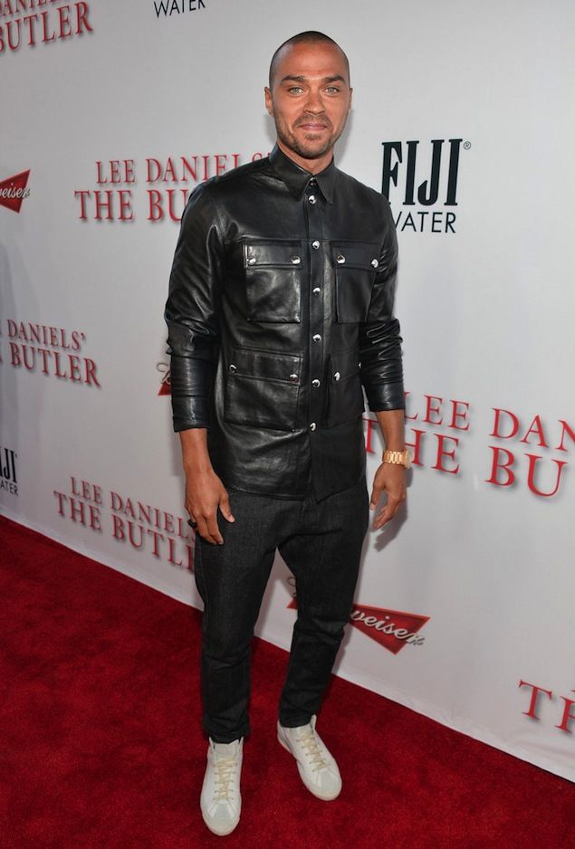 "Jesse Williams wears Givenchy Black Leather Shirt and Maison Martin Margiela Sneakers at ""The Butler"" LA Premiere 