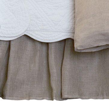 Linen Voile Natural Full Bed Skirt traditional-bedskirts