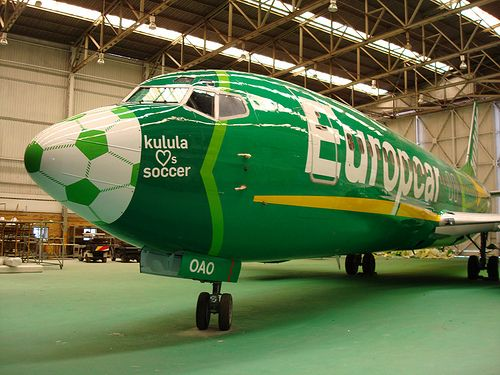 airplane soccer | Europcar launches soccer themed logo on Kulula aircraft