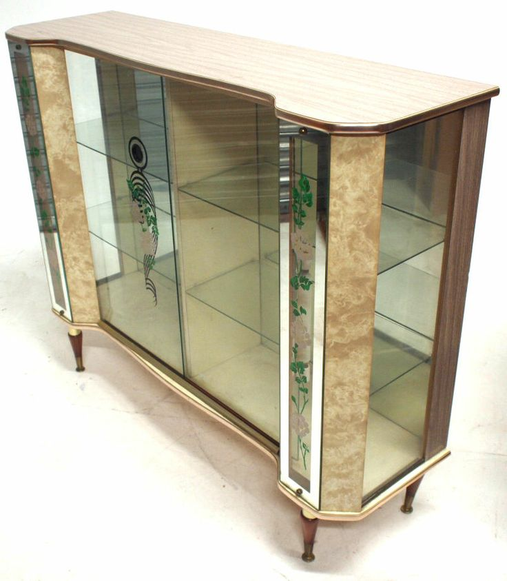 Vintage Ornate Glass Display Cabinet Retro Cocktail Furniture