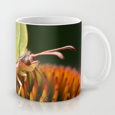 Eye of a yellow #Butterfly, sucking on a flower, close up of its wonderful eyes. #Mug by Katho Menden - $15.00  #Zitronenfalter