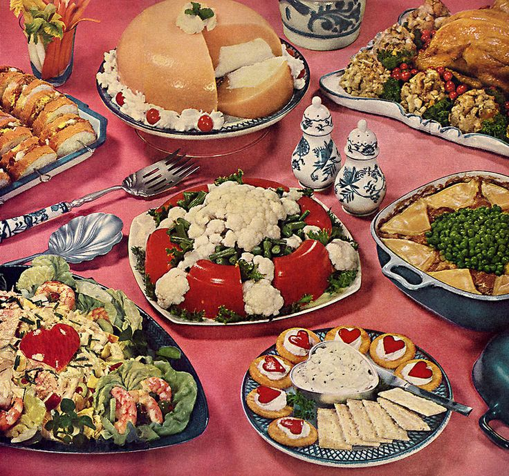 232 best thanksgiving images on pinterest vintage for Buffet cuisine 1950