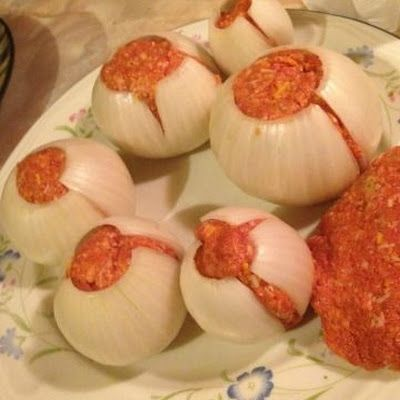 Onion Bombs @keyingredient #cheese #pork #bread