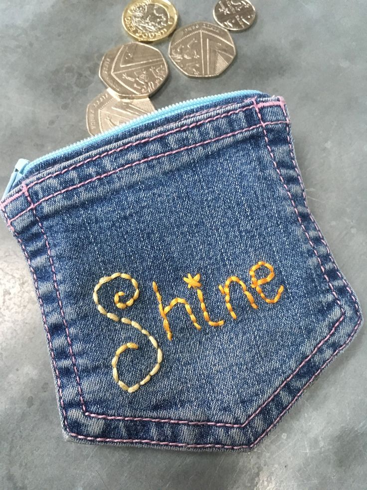 Blue Jeans purse, Festival accessories, Denim coin purse, Shine embroidered pouch, Cool upcycled wallet, Handstitched in the UK, Eco gifts by ShabbySheUK on Etsy