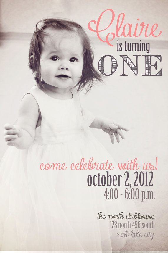 first birthday invitation wordings india%0A Baby Girl Birthday Invitation by lettersbyashclaire on Etsy