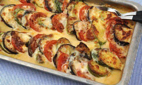 Mozzarellagratäng med aubergine, zucchini och tomat | Receptfavoriter
