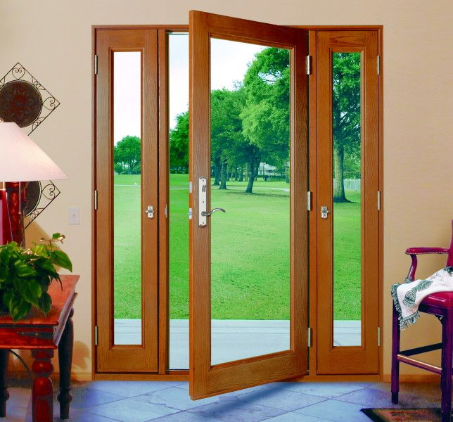 Three panel glass doors with side panels that open for Outside door with window that opens