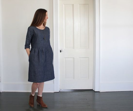 Gathered skirt dress made with a Grainline Studio Scout Tee as it's base. More info on BLOG.