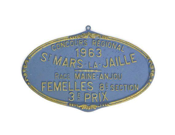 French Award Medal. Vintage Livestock Prize. Vintage Agricultural French Metal Sign. Trophy Plaque.  This beautiful French livestock award medal