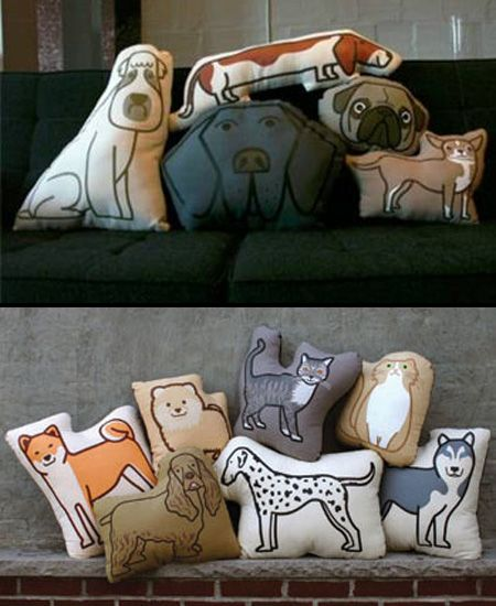 Animal Pillows: Created by Aaron Stewart and Hornet Toys, PillowPillowPillow cozy pillows feature designs of bow-wow-beautiful doggies and purrrfectly snuggle-worthy kitties