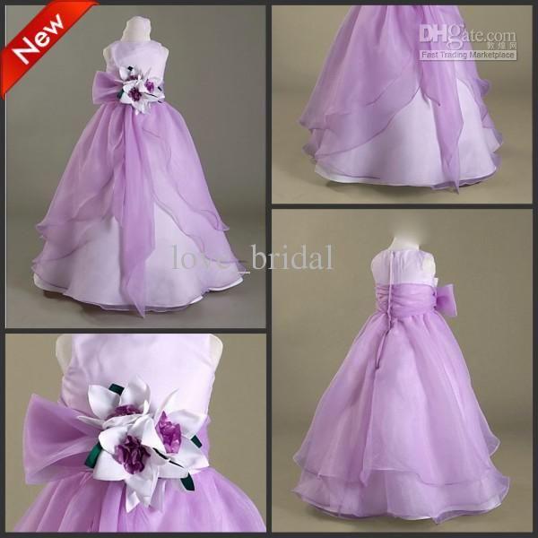 CUSTOM Made Hot Cute Floor Length A-line Purple Flower Girl Dresses Thanksgiving Girls Pageant Dress US $75.00