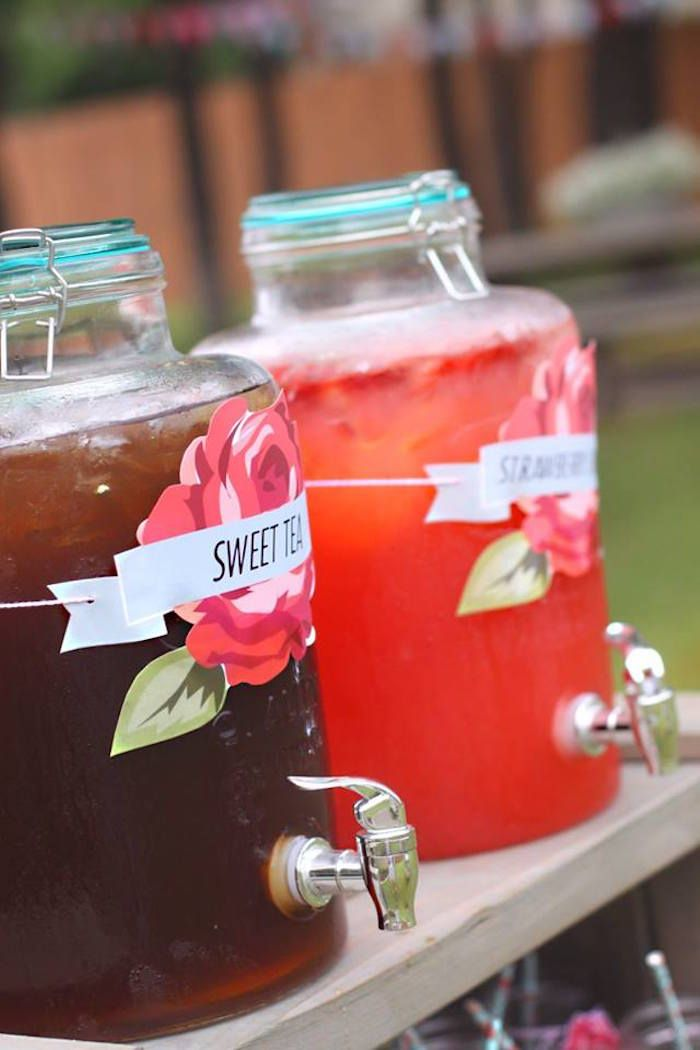 Drink station from Shabby Farmers Market Birthday Party at Kara's Party Ideas. See more at karaspartyideas.com!