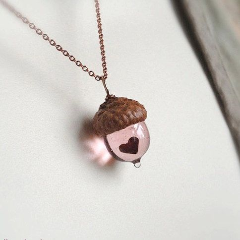 Glass Acorn Necklace - Mini Peter Pan Kiss with Heart by Bullseyebeads on Etsy, $28.00
