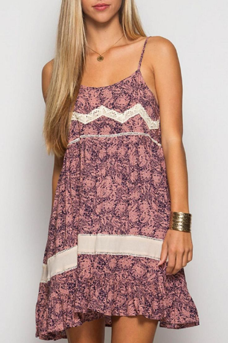 Navy and coral dress with lace and crochet contrast. Fit is a tad loose.  Lace Trim Dress by She & Sky. Clothing - Dresses - Casual Kansas