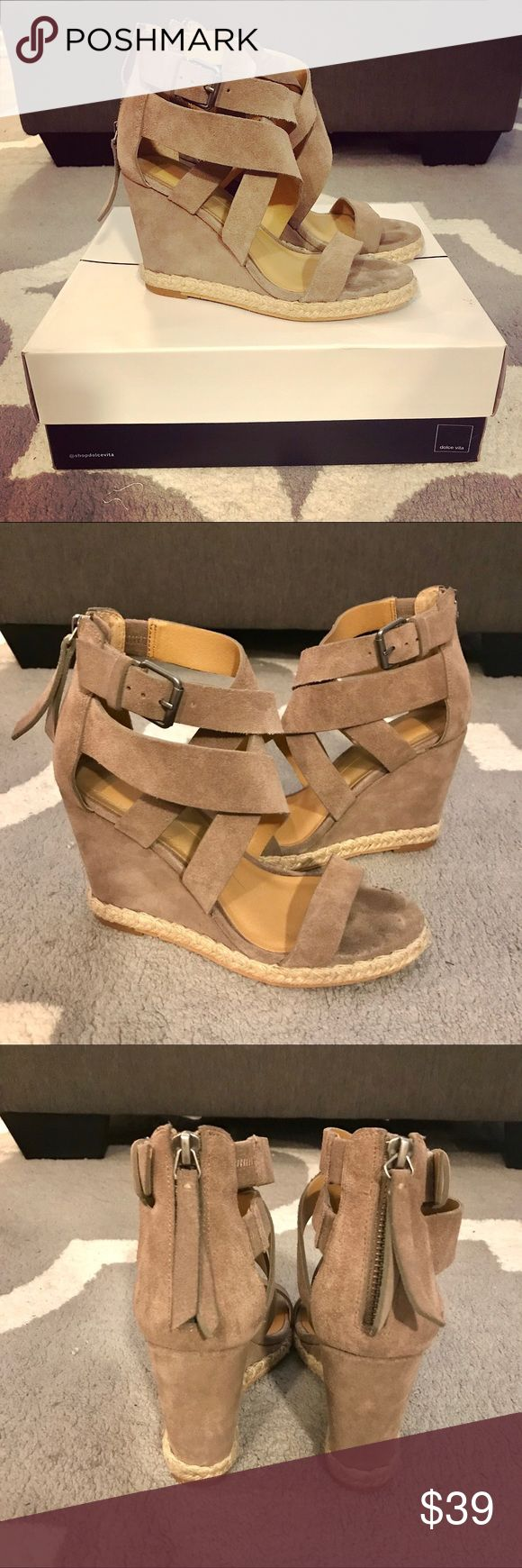 Dolce Vita Wedge Sandals Cute wedge sandals in a great neutral color and comfy heel. Convenient zip up back. Dolce Vita Shoes Wedges