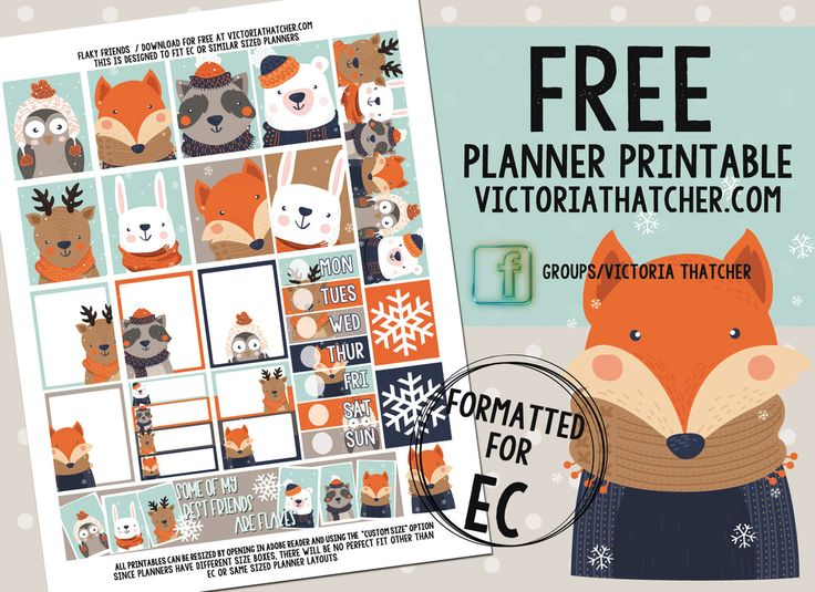 Free Printable Flaky Friends Planner Stickers from Victoria Thatcher