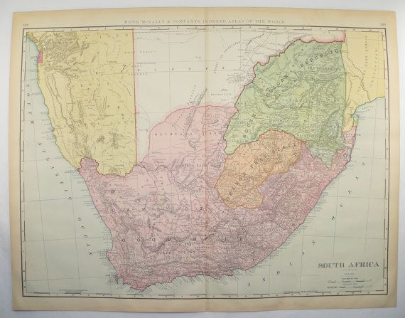 South Africa Map, Large Map, Cape Colony 1899 African Decor Gift for Couple, Vintage Map, New Home Gift, Office Art Gift for Coworker available from OldMapsandPrints on Etsy