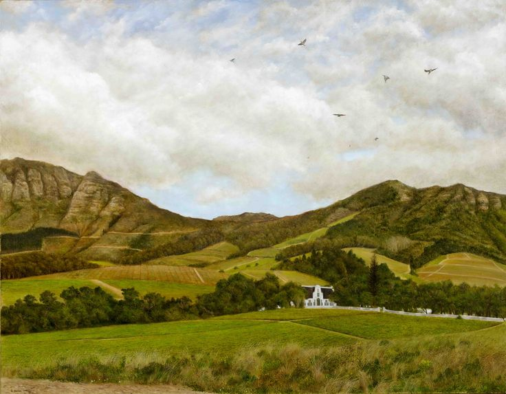View of Groot Constantia - Oil on Canvas. 90 x 70 x 3 cm. A view of the vineyards on Groot Constantia looking towards the Manor House (1685)  and the mountains over the Constantia Valley. This was a common view I had while walking to work. Cape Turtle doves in their characteristic swift scattering fill the sky.