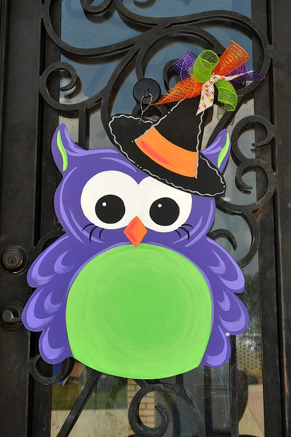 Witch Owl Halloween / Fall Door Decoration, Wooden Door Hanger - Hand Painted - Personalized Free!