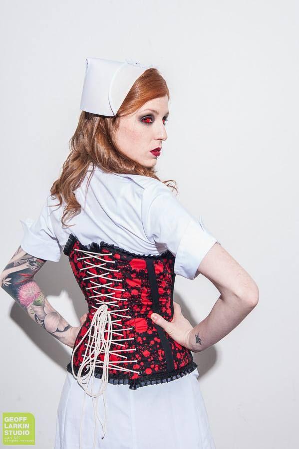 On SALE Now: Blood Splatter Corset https://www.etsy.com/listing/222321293/blood-splatter-corset-ooak  Model Lora Lie Photography by Geoff Larkin Studios Makeup by Teresa Young