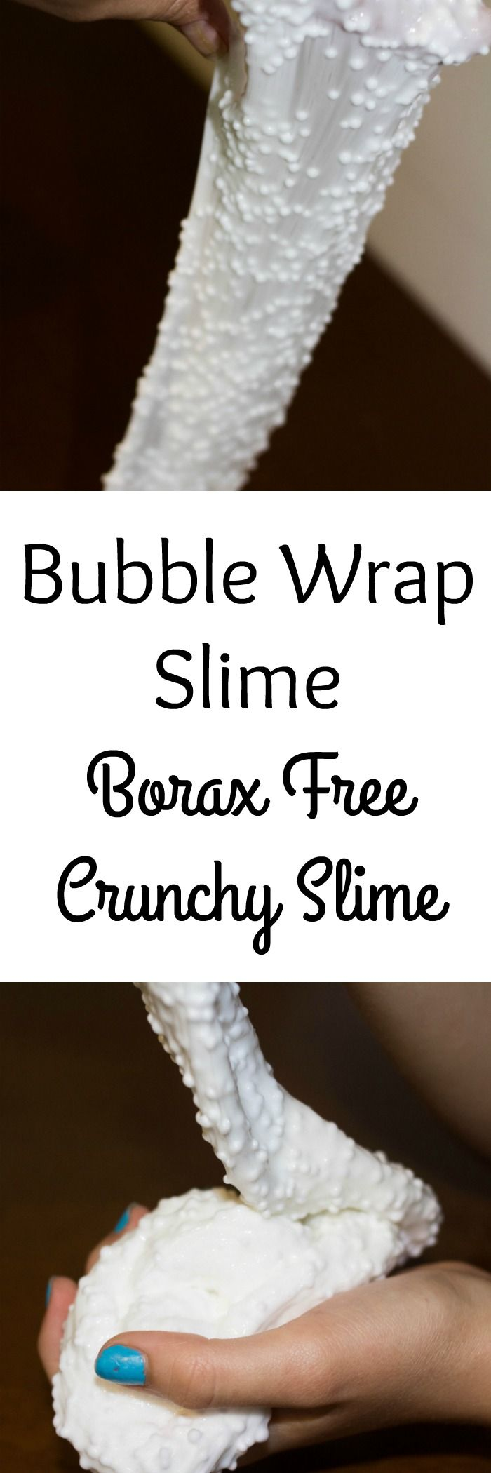 Have you tried crunchy slime yet? Kids love it. We created a borax free crunchy slime that feels like playing with bubble wrap.