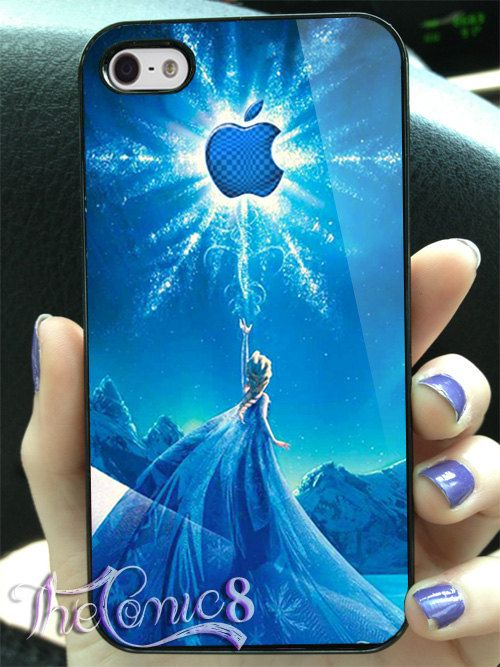 Disney frozen elsa with magic apple logo MJ7 Design for iPhone 4/4s/5/5s/5c and Samsung Galaxy s3/s4 Case