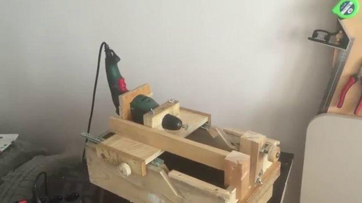 Drill powered mini lathe, disc sander and drill press 3 in 1 - El yapımı torna,disk zımpara makinesi ve matkap tezgahı