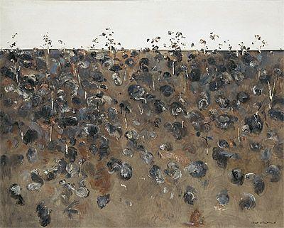 upwey landscape,1965; fred williams, australian landscape artist