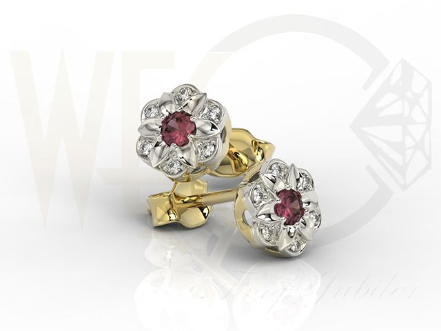 Złote kolczyki z diamentami i rubinami/ Earrings made from white and yellow gold with diamonds and rubies / 1 405 PLN #jewelllery #earrings #art #gift
