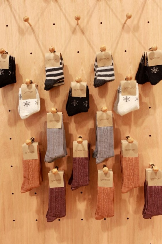 Our ingenious sock display pegboard!