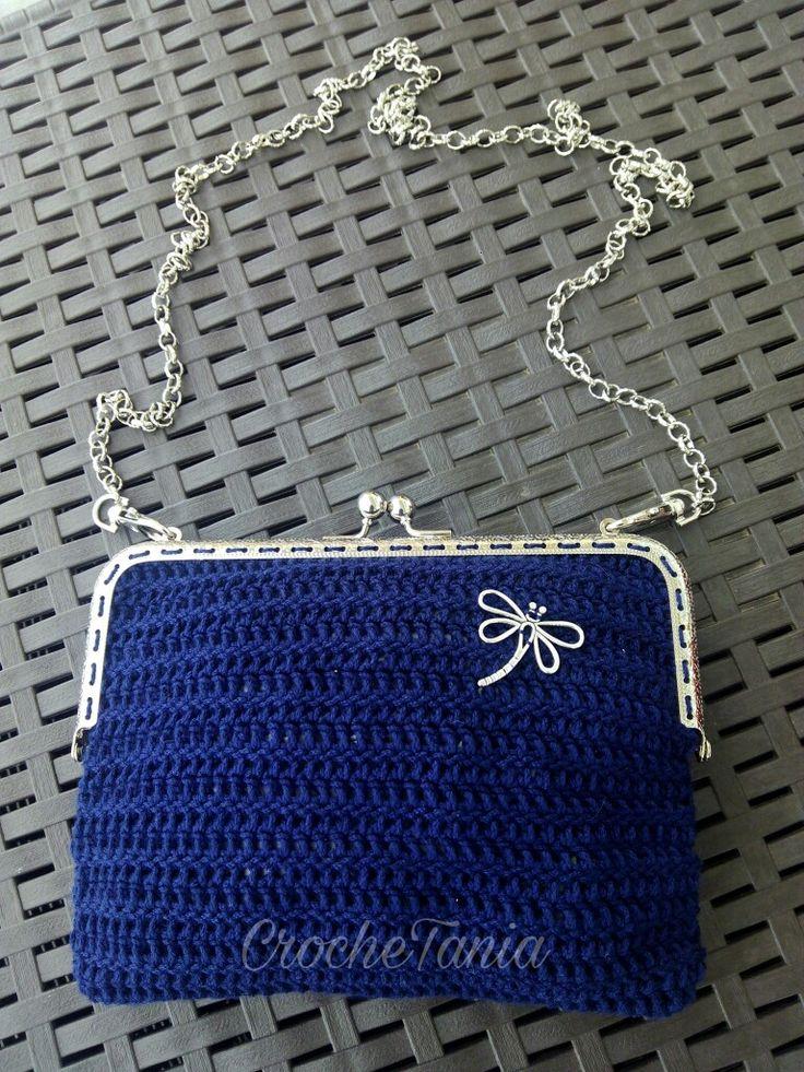 Bolso azul marino con libélula (cierre cuadrado)