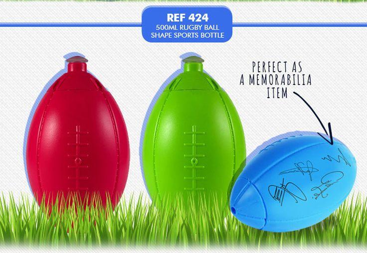 Rugby Shape Sports Bottle 500ml. REF 424 MINIMUM ORDER: 250. Optional Branding available.