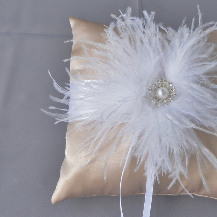 Wedding White And Champagne Ring Bearer Pillow by Chuletindesigns