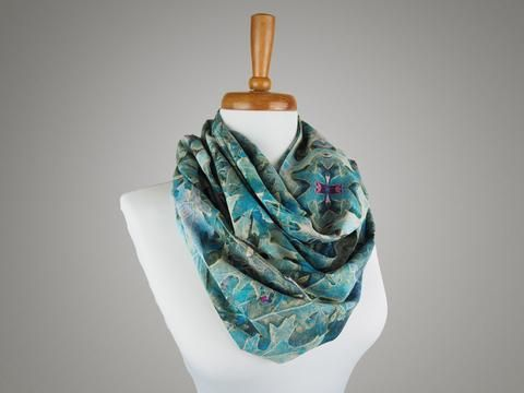 Handmade Frosty Leaves Infinity Scarf from maxandrosie.co.uk