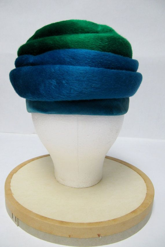 1960's Otto Lucas Fur Felt GreenBlue Striped Hat by MimiCloset, $80.00