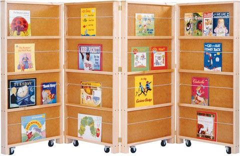 Provides thirty-two shelves (64 linear feet) for book display on four hinged two-sided panels.