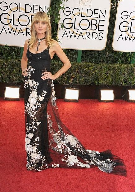 #HeidiKlum attends the 71st Annual Golden Globe Awards held at The Beverly Hilton Hotel on January 12, 2014 in Beverly Hills, California.