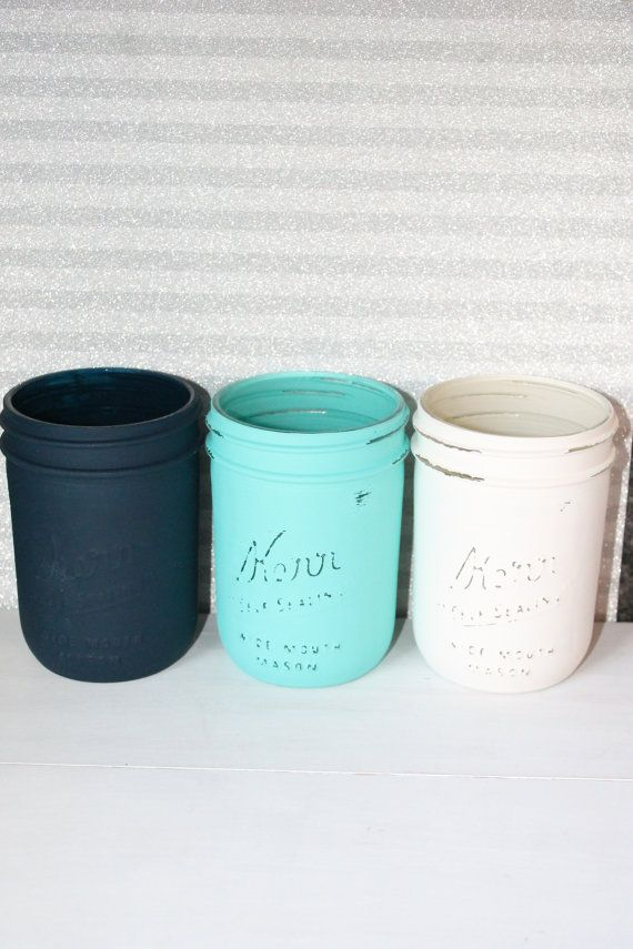 Painted Mason Jar Navy Blue White and Aqua by Prettyinpinkparty, $21.00