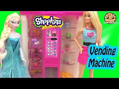 Disney Frozen Queen Elsa Doll Stocks Barbie Vending Machine with Shopkins Season 4 5 Packs - YouTube