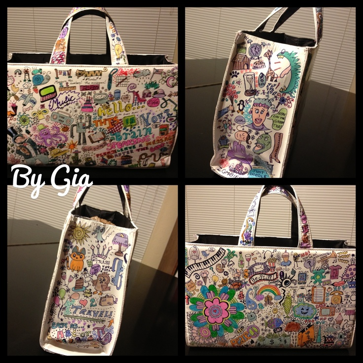 Bag I painted white and doodled on...fun and different!