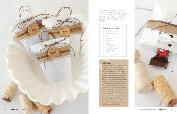 GreenCraft Magazine Spring 2014 - Coffee filter treat bags.